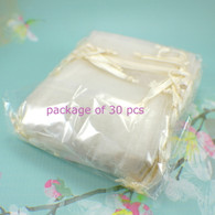 30 piece package of ivory sheer organza drawstring flat jewelry pouches