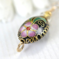 CLEARANCE Black oval cloisonne pendant wire wrapped 14k gold filled 1 inch