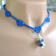 Bright blue satin Chinese knot necklace 17 inch set with earrings
