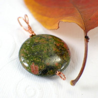 CLEARANCE Unakite pendant gemstone copper 30mm