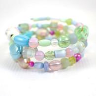 Memory wire pastel wide bracelet