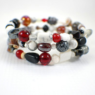 Memory wire garnet red black white wide bracelet
