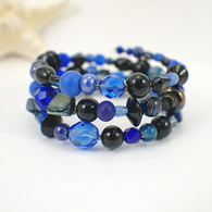Memory wire midnight blue black wide bracelet