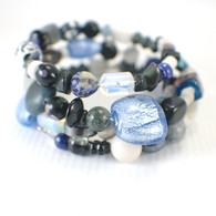 Memory wire dark denim wide bracelet
