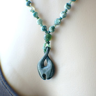 Carved jade infinity necklace green white moss agate 22 inch