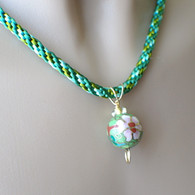 Green kumihimo necklace cloisonne flower pendant 18 inch