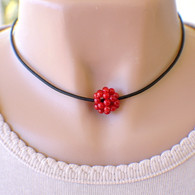 1 red berry cluster bead choker necklace on black leather cord 14 1/2 inch