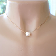 1 large white 10mm freshwater pearl on delicate 14k gold filled chain 16 18 20 inch