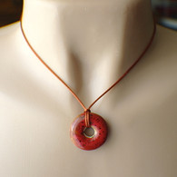 Red ceramic donut pendant necklace on copper brown satin cord 1 inch 16.5 inch