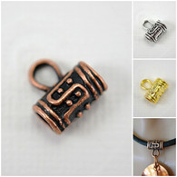 Tube bail  with ring for adding pendants to customize 2-3mm necklace cords 1 piece
