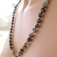 Mother of pearl in resin 8mm bead strand hand knotted 26 inch