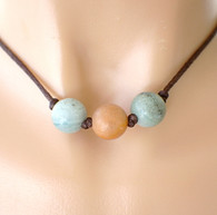 3 bead amazonite gemstone necklace knotted on chocolate brown satin cord 16.5 inch