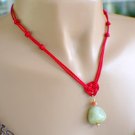 Red satin chinese knot pendant necklace jade nugget