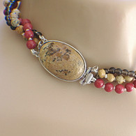 Picture jasper focal clasp triple strand necklace set with earrings