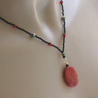 Red coral pendant necklace black onyx cloisonne green