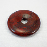 Brecciated jasper 40mm donut gemstone deep red