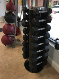 York Barbell Rubber Coated Dumbbells 5-30 w/Dumbbell Rack
