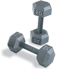 York 5 Pair Cast Iron Hex Dumbbells 60# - 80#