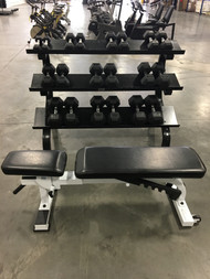 York 5-50 Rubber Hex Dumbbells with Preowned DB Rack & York Flat to Incline Workout Bench
