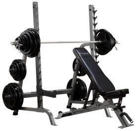 Body Solid Pro Clubline Olympic Press System w130lb Olympic Weight Set