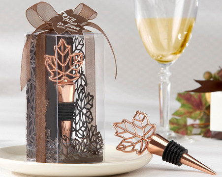 Wedding Favors - Kate Aspen Lustrous Leaf Copper-Finish Bottle Stopper