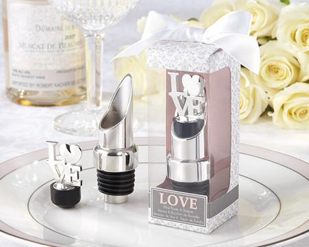 Wedding Favors - Kate Aspen LOVE Chrome Pourer/Bottle Stopper