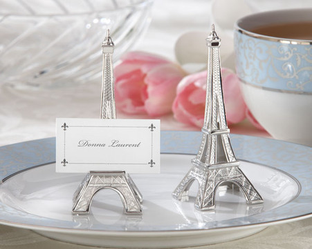 Wedding Favor Ideas - Kate Aspen Evening in Paris Eiffel Tower Silver-Finish Place Card and Holder