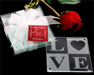 Wedding Favor Ideas - Kate Aspen LOVE Glass Coaster Gift Set with Ribbon and Tag