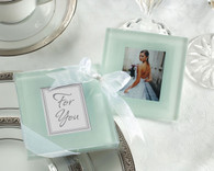 Cheap Wedding Favors - Kate Aspen Forever Photo Frosted Glass Coasters