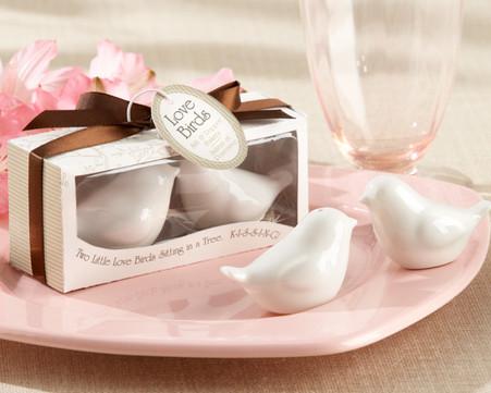 Cheap Wedding Favors - Kate Aspen Lovebirds in the Window Ceramic Salt & Pepper Shakers