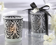 Bridal Shower Gifts and Wedding Favours - Kate Aspen Damask Traditions Frosted Glass Tea Light Holder