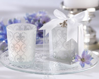 Bridal Shower Gifts and Wedding Favours - Kate Aspen Fleur-de-lis Frosted-Glass Tea Light Holder with soy tealight