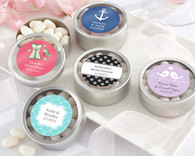 Wedding Favor Boxes and Personalized Wedding Favors - Kate Aspen Simply Sweet Round, Personalized Candy Tin