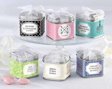 Wedding Favor Boxes and Personalized Wedding Favors - Kate Aspen Unexpected Treasures! Favor Tin with Pre-Tied Organza Bow