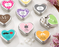 Wedding Favor Boxes and Personalized Wedding Favors - Kate Aspen Mint For You Brushed-Metal Heart-Shaped Mint Tin