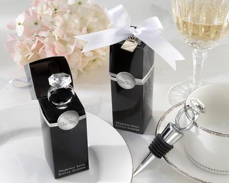Wedding Favors Canada - Kate Aspen With This Ring Chrome Diamond-Ring Bottle Stopper
