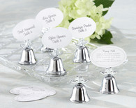 Wedding Party Favors - Kate Aspen Lovebirds Silver Finish Kissing Bell Place Card Holder. Place Card Holders to make your wedding day special.