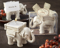 Unique Wedding Favors - Kate Aspen Lucky Elephant Antique Ivory Finish Tea Light Holder. Candle Wedding Favors to make your wedding day special.