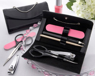Bridal Shower Favors - Kate Aspen Little Black Purse Patent Leather Five Piece Manicure Set. Manicure/ Pedicure Set to make your wedding day special.