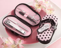 Bridal Shower Gifts - Kate Aspen Pink Polka Flip Flop Four Piece Pedicure Set. Manicure/ Pedicure Set to make your wedding day special.