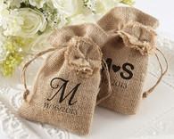 Personalized Wedding Favors - Kate Aspen Rustic Renaissance Burlap Favor Bag with Drawstring. Wedding Favor Bags to make your wedding day special.