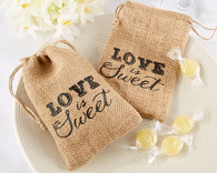 Wedding Favor Boxes - Kate Aspen Love is Sweet Burlap Drawstring Favor Bag. Wedding Favor Bags to make your wedding day special.