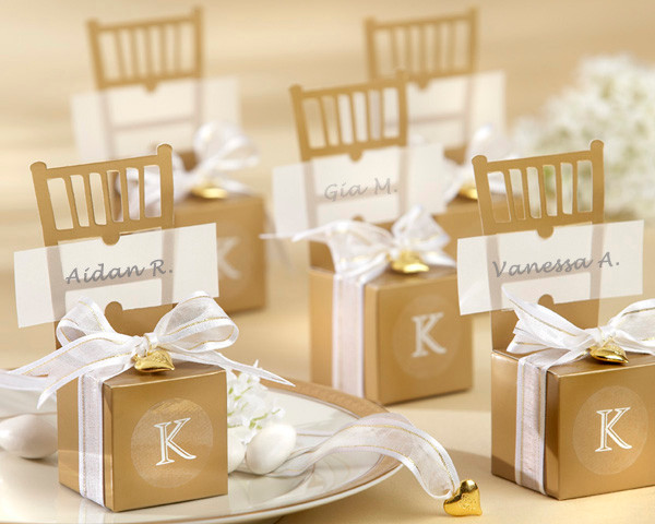 Personalized Wedding Favors Miniature Gold Chair Favor Box With