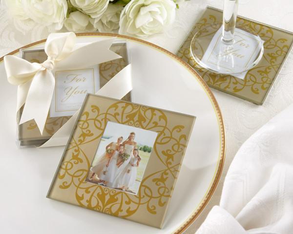 Wedding Favors Coaster.Golden Brocade Elegant Glass Photo Coasters
