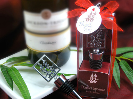 Wedding Favors - Artisano Designs Double Happiness Shuang Xi Bottle Stopper in Harmony Gift Box. Wine Bottle Stoppers to make your day special.