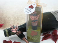 Wedding Favors Canada - Artisano Designs Bronze Elegance Fall Leaf Bottle Stopper in Designer Gift Box. Wine Bottle Stoppers to make your day special.