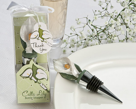 Wedding Favors - Artisano Designs Pure Elegance Calla Lily Bottle Stopper in Designer Gift Box. Wine Bottle Stoppers to make your day special.