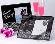 Wedding Favor Ideas - Artisano Designs Forever & Always Damask Photo Frame Favor. Place Card Holders to make your day special.
