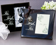 Wedding Favor Ideas - Artisano Designs Live, Love, Laugh Glass Photo Frame Favor. Place Card Holders to make your day special.