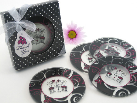 Wedding Favours - Artisano Designs Bistro for Two Round Glass Coaster Favors in Designer Gift Box (Set of 4). Coaster Favors to make your day special.